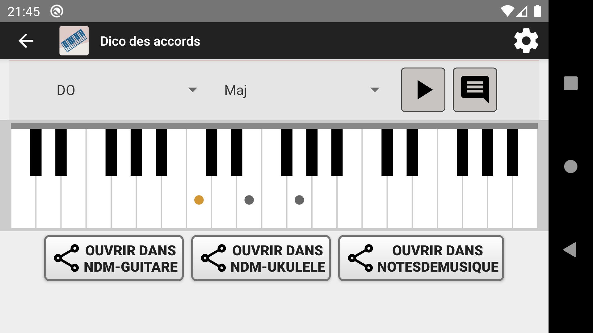 NDM-Piano - Dictionnaire des accords